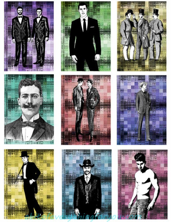 """mens fashion art collage sheet digital download 2.5"""" x 3.5"""" graphics male pinup downloadable images printables"""