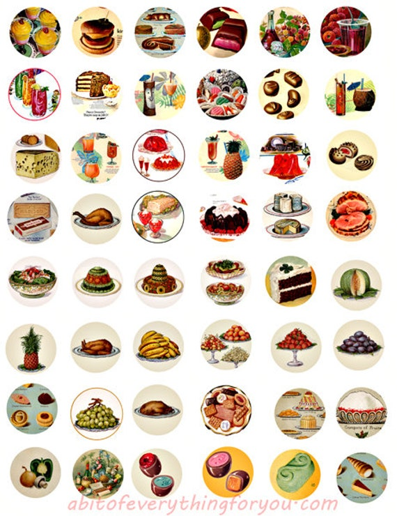 vintage food ads cookbooks clip art collage sheet 1 inch circles graphics downloadable images digital download craft printables