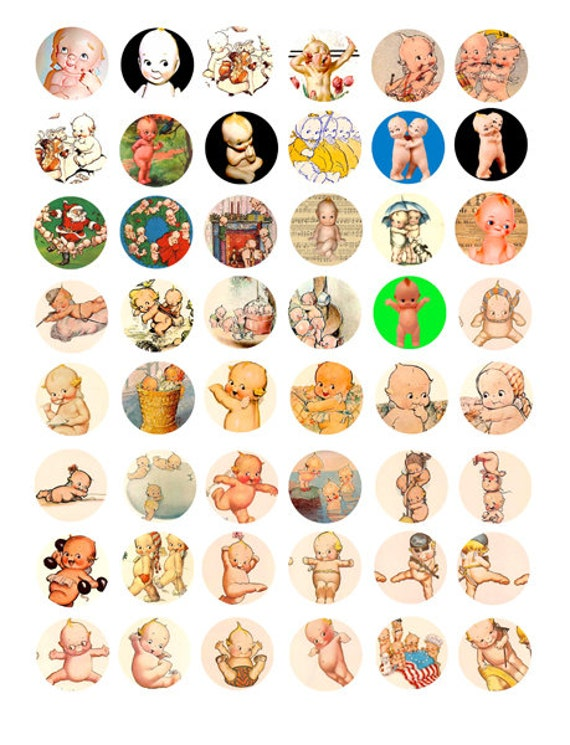 kewpie dolls art clipart clip art digital download collage sheet 1 inch circles graphics vintage images pendant jewelry making printables