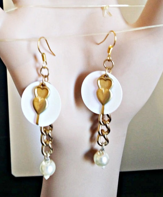 gold hearts white sequins earrings charm long dangles metal pearl drops gold chain handmade jewelry