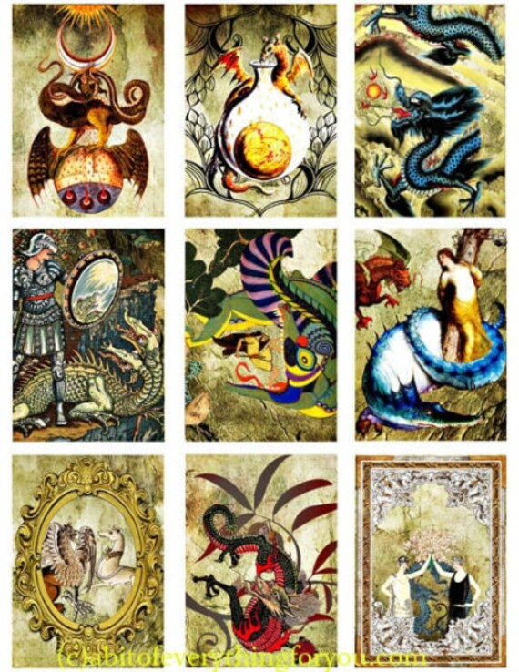"printable vintage dragons knights damsels medieval clipart collage sheet 2.5"" x 3.5"" inch fairytale fantasy digital downloadable images diy"