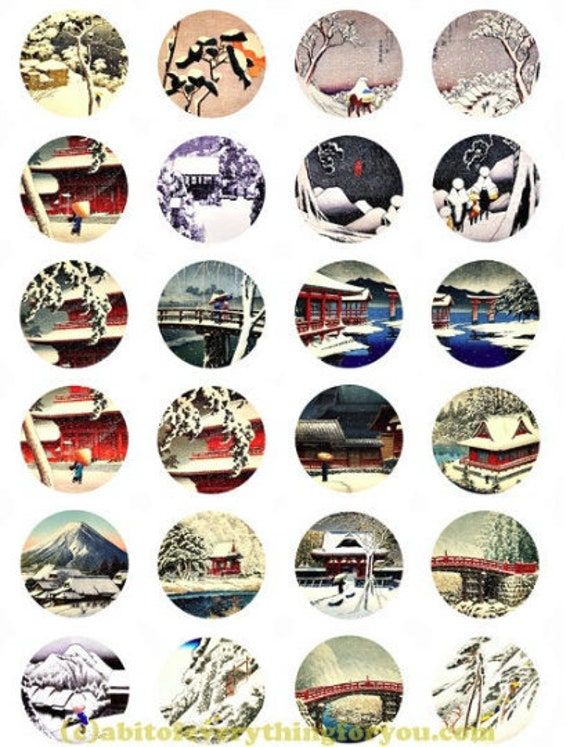 printable digital collage sheet snow lanscape winter clipart 1.5 inch circles downloadable images pendants diy jewelry making scrapbook