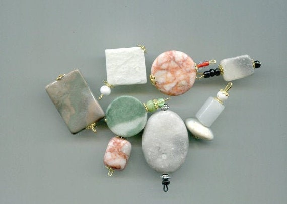 8 large gemstone pendants stone charms bead drops natural marble jewelry making supply
