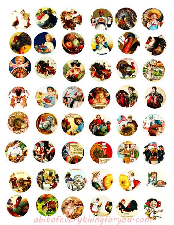 thankgiving holiday vintage art clipart digital download collage sheet 1 inch circles downloadable graphics images printables pendants