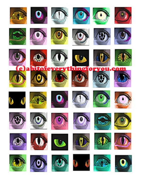 """Creepy evil creature eyes printable collage sheet monsters zombies art clipart digital download  1"""" inch squares graphics images pendants"""