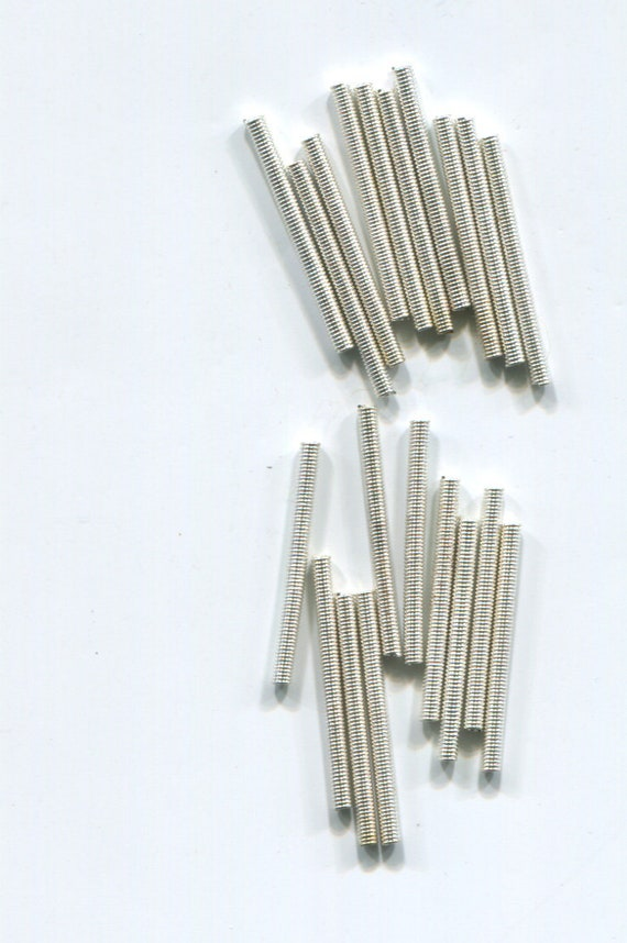 vintage metal tube beads spring beads bugle beads 12 piece 2mm x 25mm silver steampunk jewelry making supplies