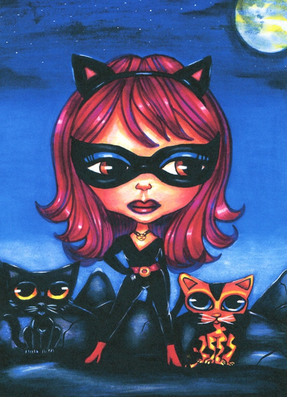 Cat girl blythe doll art print kittens super heros big eye big eyes art fantasy goth sci fi low brow night moon