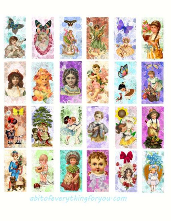 "vintage children boys girls spring summer flowers art clipart digital download domino collage sheet 1"" x 2"" inch graphics images printables"