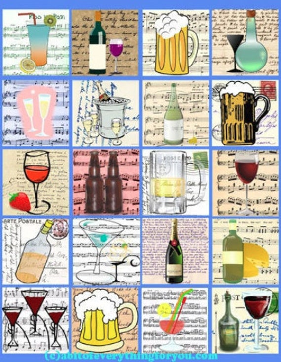 alcohol booze drinking art digital collage sheet downloadable clipart 2 inch squares images diy jewelry making crafts kitchen wall decor