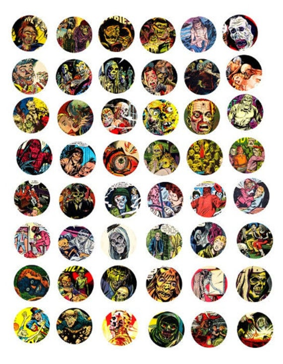 printable zombies undead ghouls digital downloadable collage sheet clipart 1 inch circles horror comics DIY jewelry making pendant images