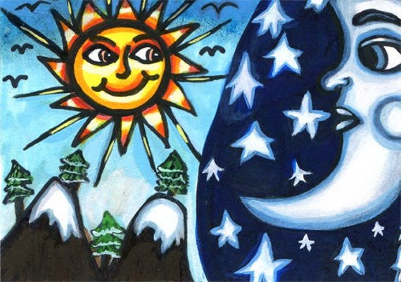 sun moon stars fantasy celestial original aceo art drawing celestial miniature atc colorful modern artwork By Elizavella