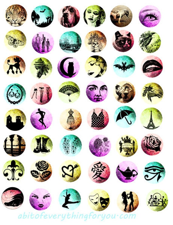 miscellanious silhouette art animals fashion faces digital download collage sheet clip art 1 inch circle images crafts printable jewelry