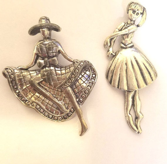 huge ballet dance charms antique silver pewter ballerina pendant metal dancing lady 50 mm x 70 mm vintage jewelry making supplies