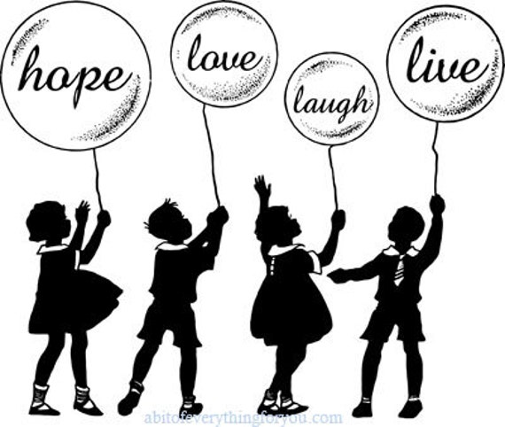 children with inspirational balloons silhouette printable art print clipart png download digital vintage image text graphics digital stamp