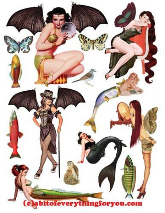mermaid fairy pinup girls paper dolls die cuts clipart digital instant download craft printables cut outs collage sheet graphics images