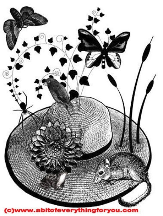 flower straw hat animals butterfly original art print mouse frog black and white nature living room bedroom kids room home decor