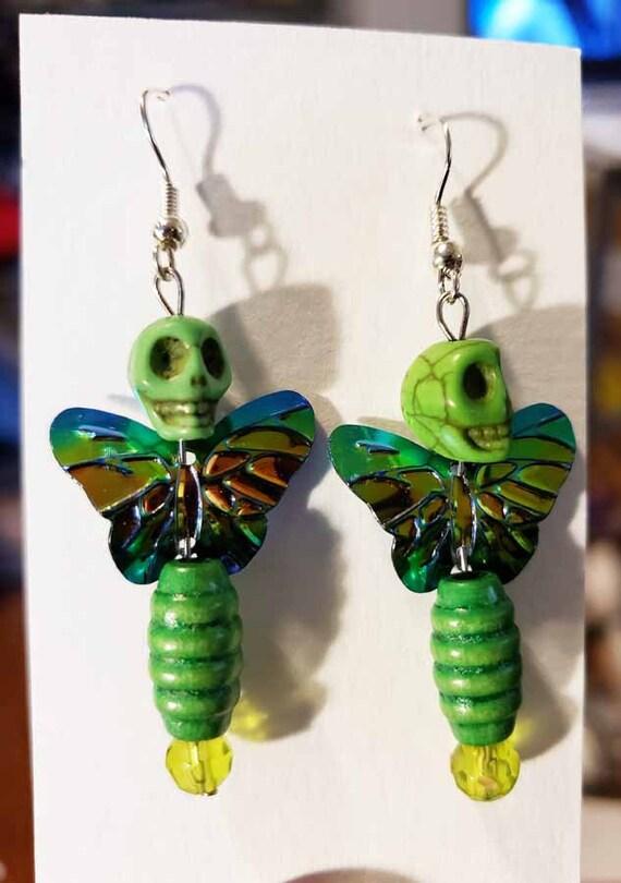 day of the dead sugar skull earrings green skull butterfly earrings halloween