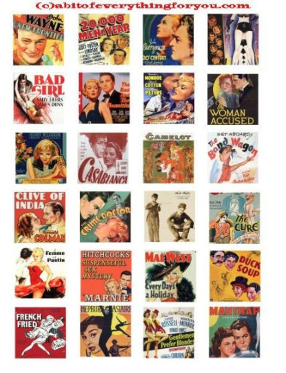 printable digital collage sheet downloadable vintage movie posters clipart 1.5 inch squares images diy pendants jewelry making