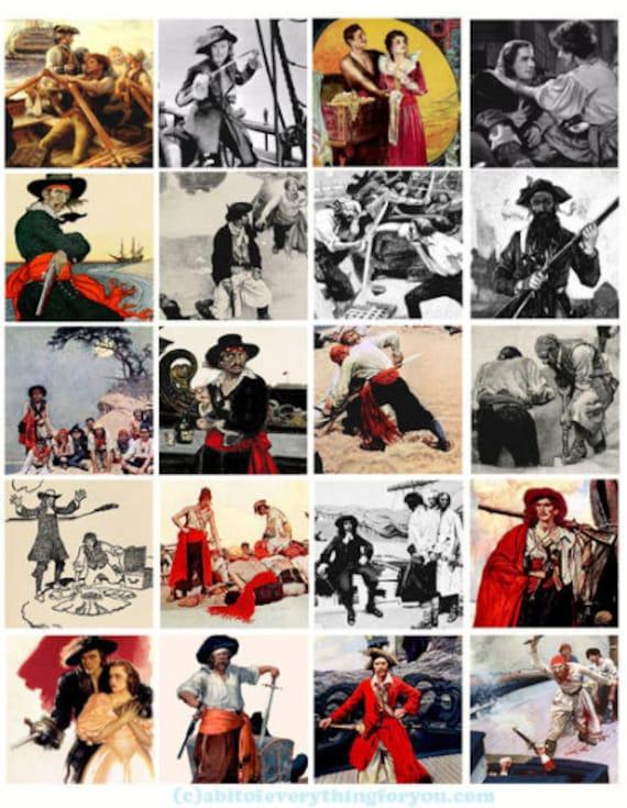 "vintage pirates treasure island collage sheet 2"" inch  squares clip art graphics images digital download DIY craft printables scrapbooking"