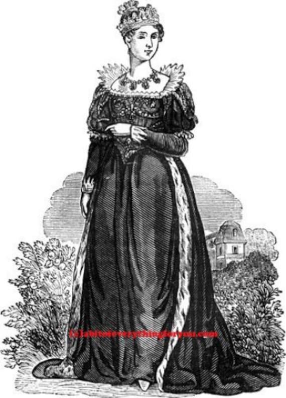queen josephine vintage printable art print renaissance clipart png digital download image graphics black and white downloadable artwork