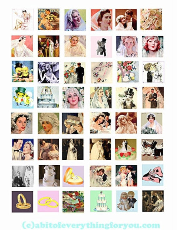 wedding brides marriage woman faces collage sheet 1 inch squares clipart digital download images downloadable pendants DIY craft jewelry