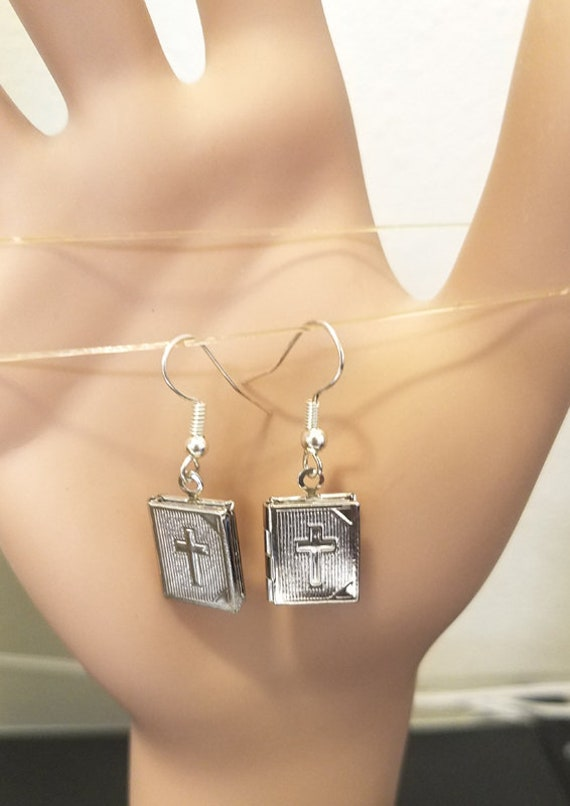 Silver bible book locket earrings charm drop dangles cross earrings religious handmade locket jewelry