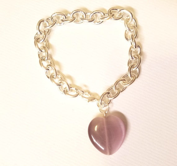 purple glass heart charm silver chain bracelet womens love romance jewelry new