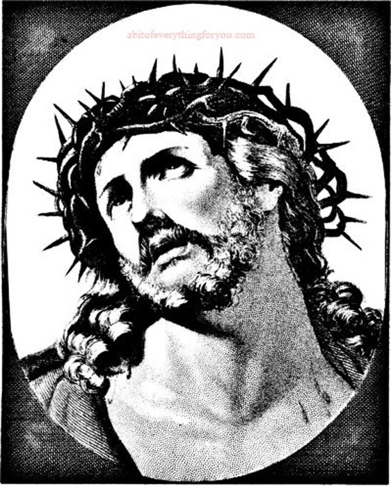 jesus christ thorn crown religious printable art print downloadable digital vintage image downloads graphics christian black & white artwork