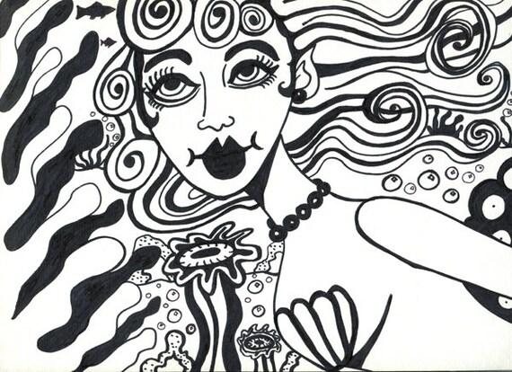 mermaids original abstract art ink drawing surrealism nautical fantasy fairytale art modern contemporary artwork gifts home decor Elizavella