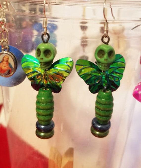 day of the dead earrings green butterfly sugar skull earrings skull bead earrings dangles goth beaded punk jewelry