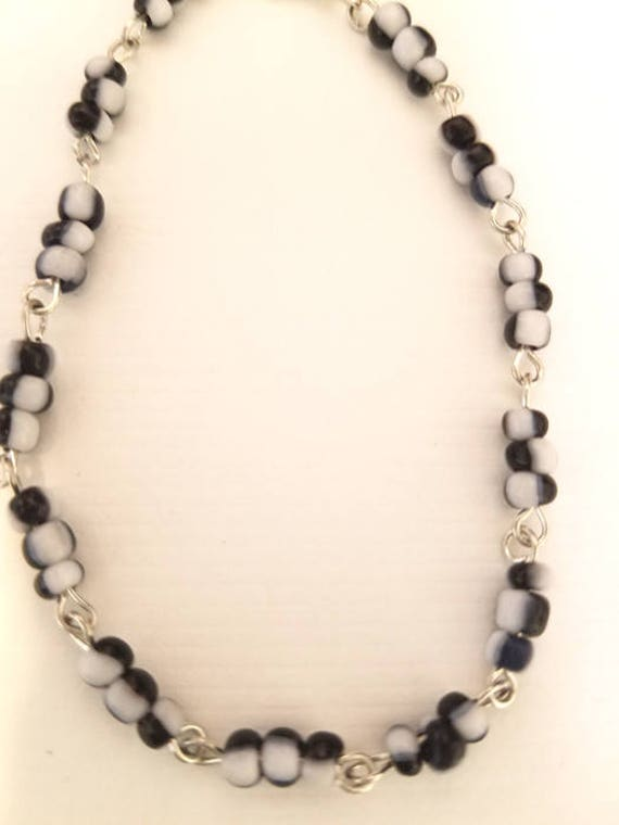 black and white glass seed beaded chain bracelet handmade jewelry