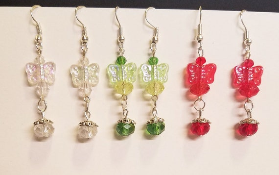 3 pr butterfly bead drop earrings lot dangles handmade jewelry red clear green