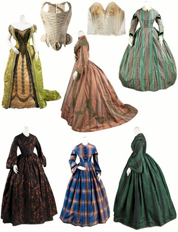 1800s fashion real victorian dresses clipart collage sheet png jpg instant download digital image graphics printable downloadable die cuts