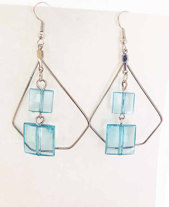 Blue square bead triangle wire earrings dangles handmade original jewelry designs