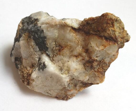 white milky Quartz crystal Rock with black nugget stone 6 oz raw snow quartz minerals healing feng shui fish tank aquarium terrarium decor