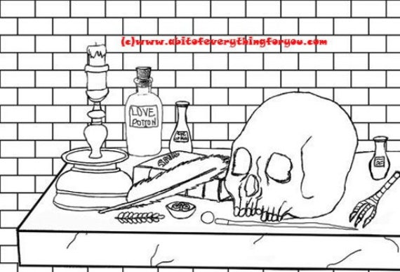skull magic potion altar witch spells art coloring page printable art download digital sketch colouring pages image graphics