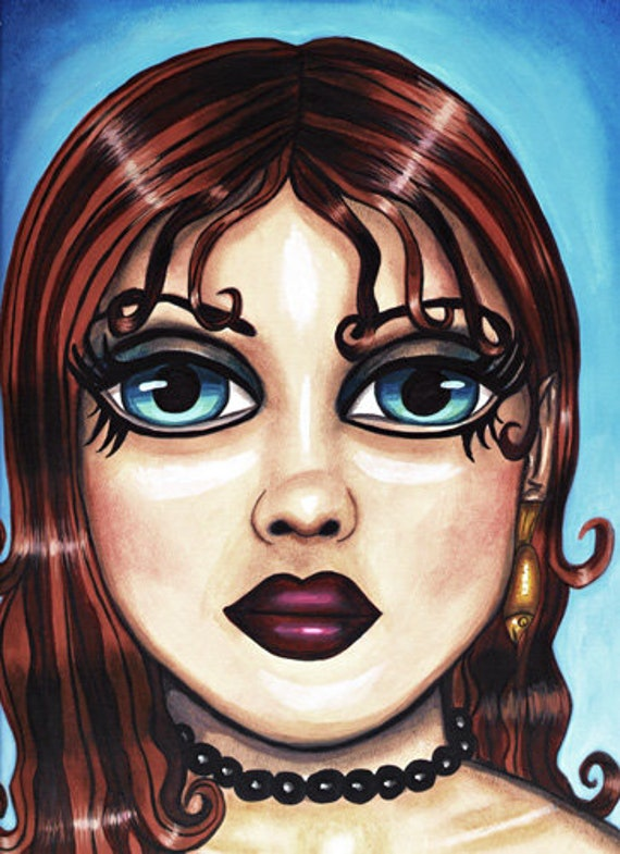 Blue big eyed Nude mermaid sea goddess sea nymph siren original fantasy art drawing print Girl face 9x12 big eye art womans face