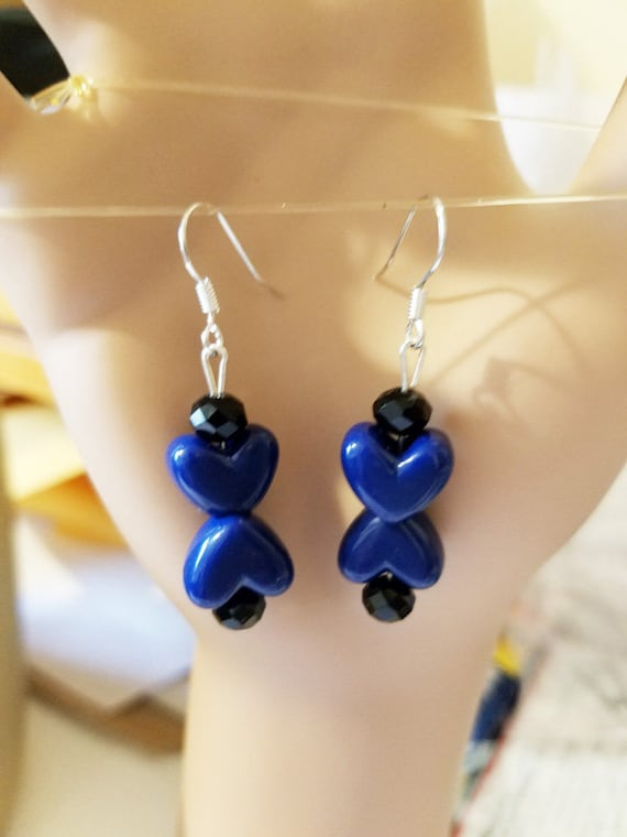 blue heart earrings long drop dangles beads plastic glass beaded handmade jewelry