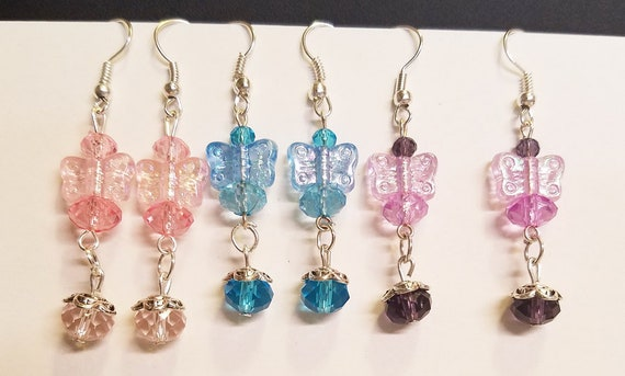 3 pr butterfly bead drop earrings lot dangles handmade jewelry blue pink purple