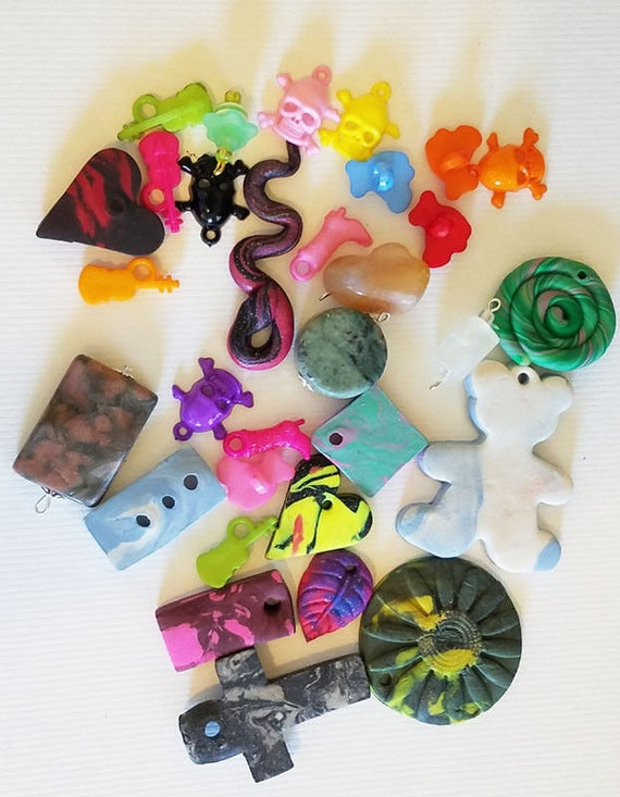31 charms pendants mixed lot clay plastic stone charms jewelry making craft supplies