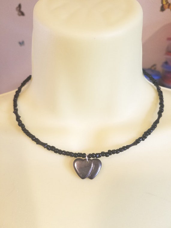 2 black stone hearts necklace pendant beaded wire choker goth seed bead necklace