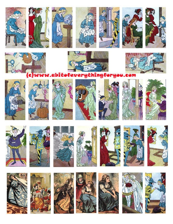 "vintage cinderella fairytale clip art digital download domino collage sheet 1"" x 2"" inch graphics images printable for pendants pins magnets"