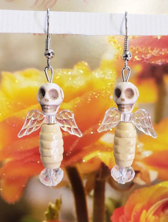 white butterfly sugar skull earring day of the dead skull earrings handmade halloween wedding bridal