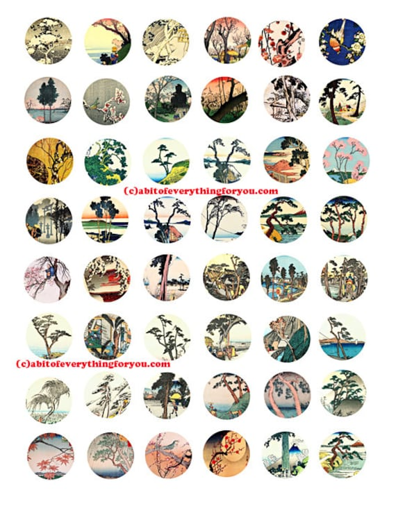 """trees landscape printable collage sheet japanese woodblocks art clipart digital download  1"""" inch circles graphics nature images pendants"""