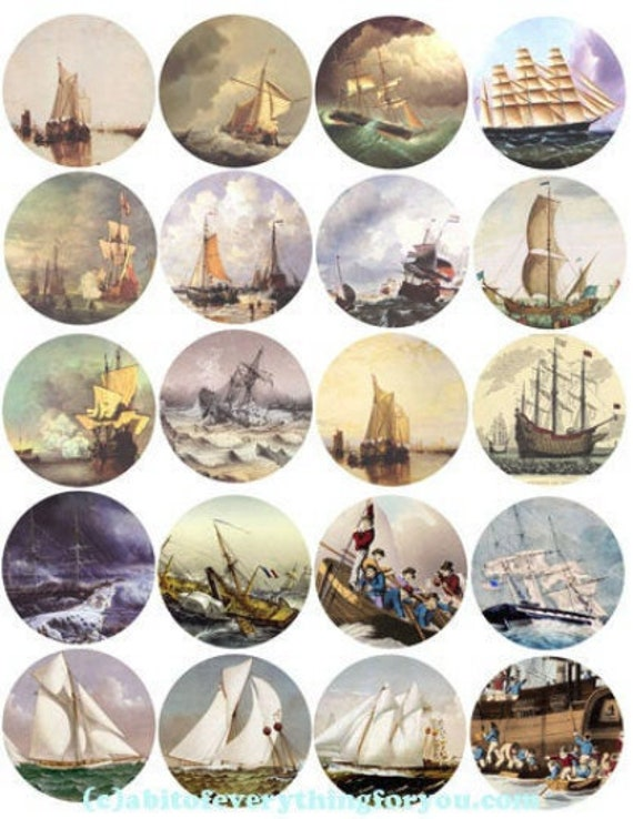 digital download collage sheet vintage printables sailing ships boats ocean printables clipart 2 inch circles nautical images DIY jewelry