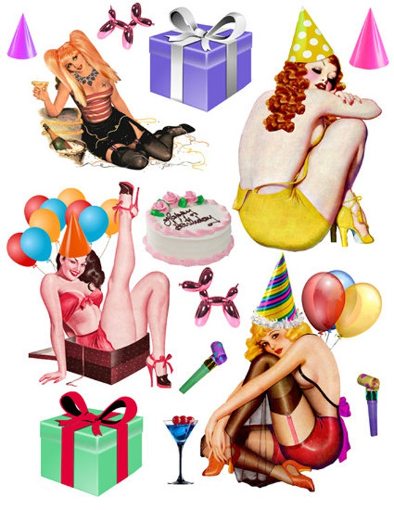 party girls pinups balloons die cuts clipart instant download craft printable collage sheet digital images