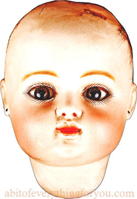 creepy antique porcelain baby doll head art clipart png jpg craft printable download digital image graphics