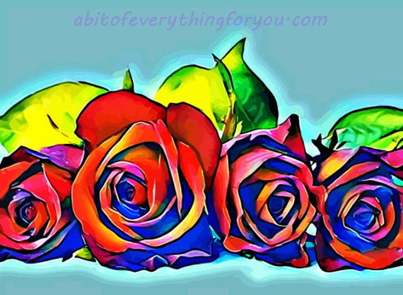 red roses leaves abstract flowers printable art print digital download image graphics home living room bedroom office decor