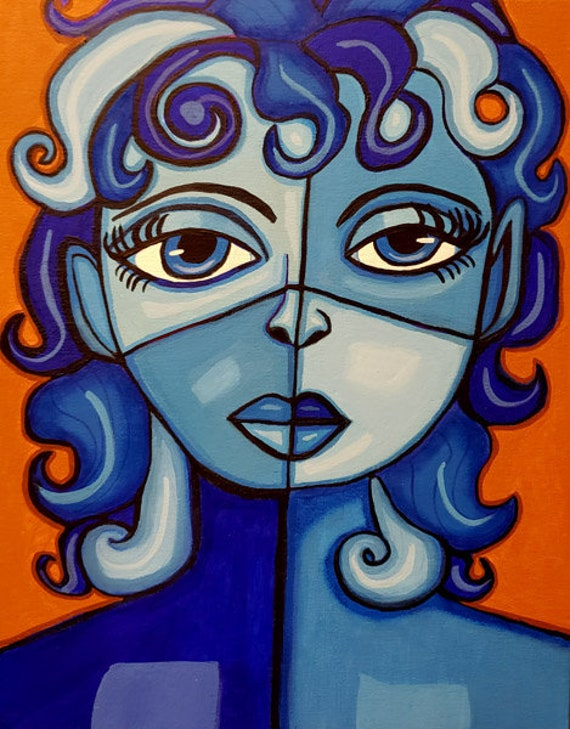blue woman ORIGINAL ABSTRACT art PAINTING modern acrylics painting 11 x 14 inch canvas fine art by Elizavella