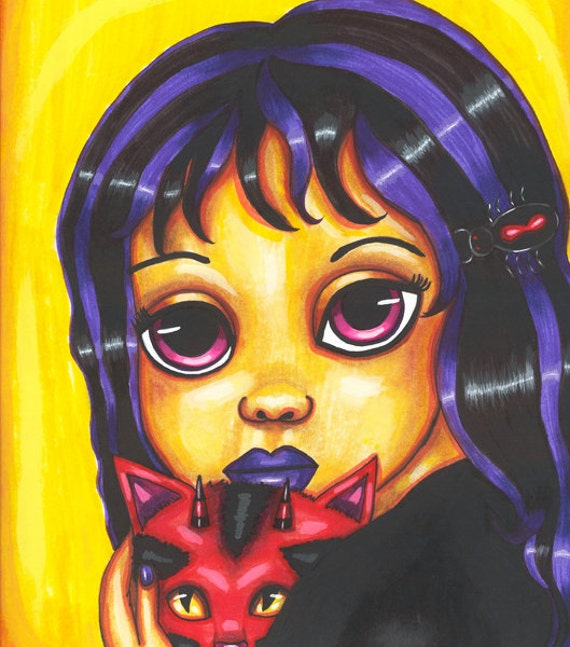 big eyed witch girl cat art print friendship pets fantasy goth 8 x 10 big eye low brow